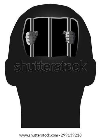 Raster Concept Illustration of Prisoner in Our Own Mind - stock photo