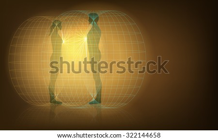 Raster Conceptual Illustration of Man and Woman Auras Interaction - stock photo