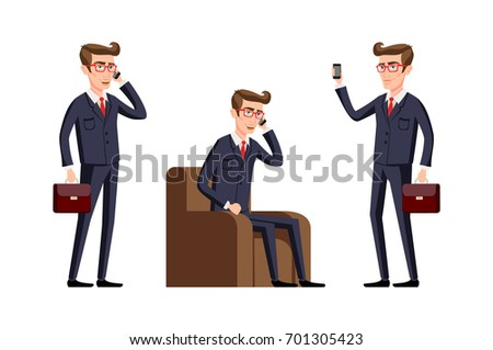 raster copy Businessman in a office workplace is sitting on a table and talking on the cellphone. illustration. phone art