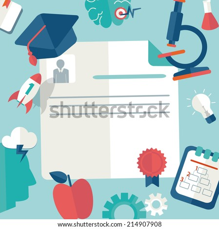 Raster copy education and science concept. Flat design. - stock photo