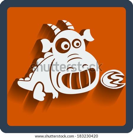 Raster copy. Funny white dragon in flat design on orange. Web and mobile animals icon. - stock photo