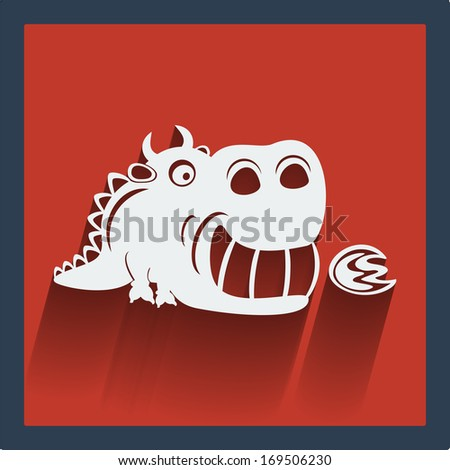 Raster copy. Funny white dragon in flat design on red. Web and mobile animals icon. - stock photo