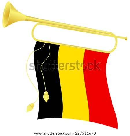 Raster copy illustration bugle with a flag Belgium - stock photo
