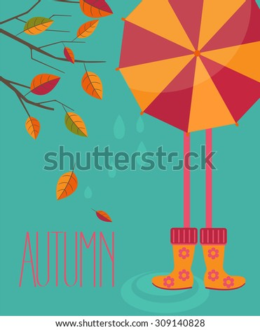Raster copy illustration of a autumn season in flat style - tree with leafs and girl with a bright umbrella and boots with the inscription made by hand the Autumn. - stock photo