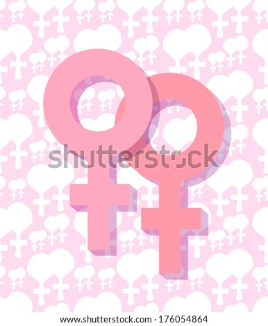 raster copy of a two female symbol - stock photo