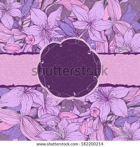 Raster copy of Stylish floral background with frame. Element for design. Lily pattern with scratch effect. Shabby chic - stock photo