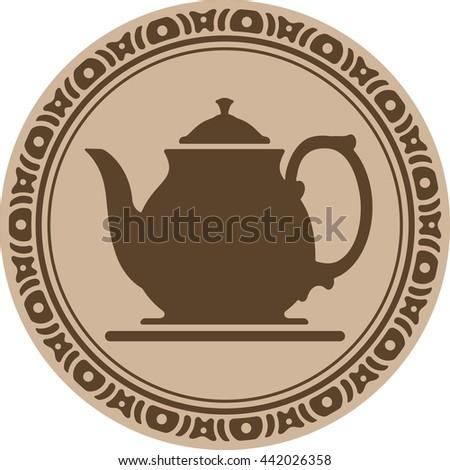 Raster copy of teapot into decorative round frame - stock photo