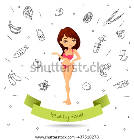 Raster copy of vector. Thin girl in a swimsuit on the background of the Doodle healthy food. Cartoon woman points on healthy food and perfect shape demonstrates. Concept  illustration