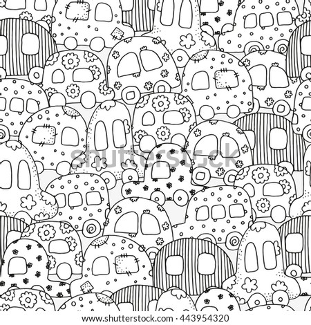 Raster copy. Seamless pattern for coloring book with doodle style hand drawn kids cars. Magic City. Ink pen sketch. Zentangle. Black and white. Coloring book page for adult and children.  - stock photo
