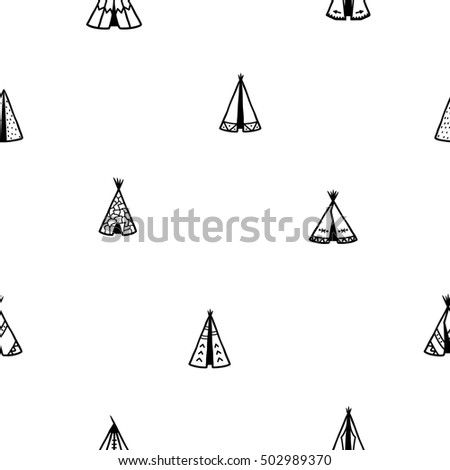 Raster copy. Seamless pattern of indian tee-pee or wigwams. Hand drawn tribal illustration.