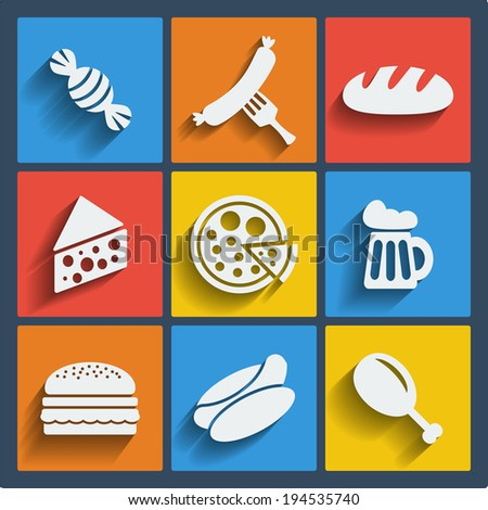 Raster copy. Set of 9 food web and mobile icons in flat design. Symbols of candy, sausage, fork, bread, cheese, pizza, beer, hamburger, hot dog, chicken leg - stock photo