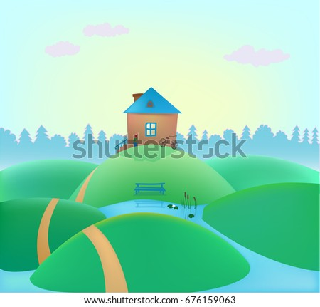 Raster copy. small cute house on the hills, summer landscape, nature background