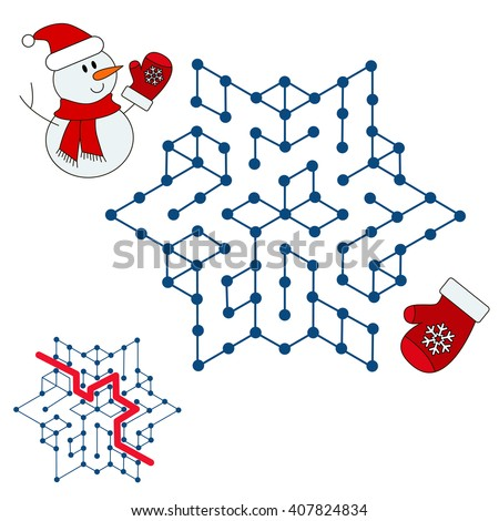 Raster copy. Snowman search the way. Help to find the solution. Kid labyrinth game.  - stock photo
