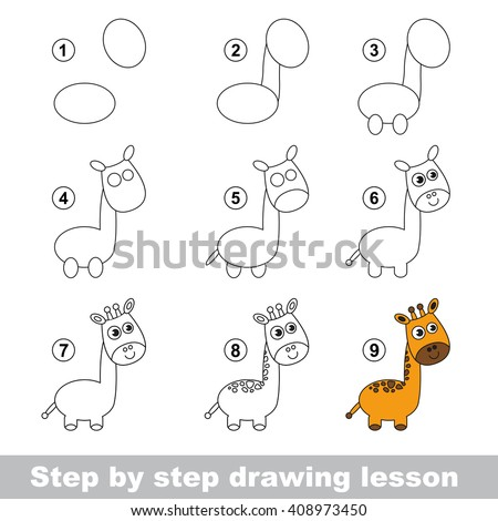 Raster copy. Step by step drawing tutorial. Vector kid game. How to draw a Giraffe - stock photo