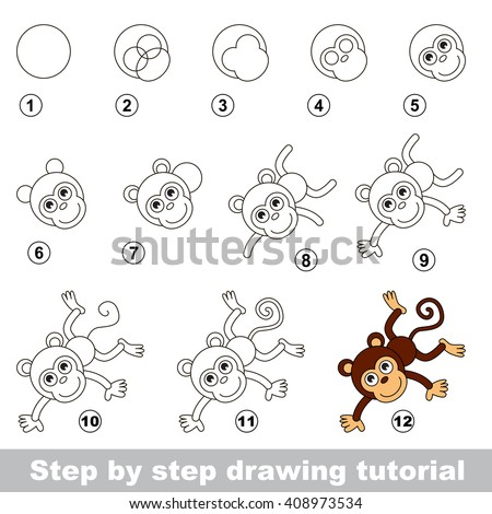 Raster copy. Step by step drawing tutorial. Visual game for kids. How to draw a Funny Monkey - stock photo
