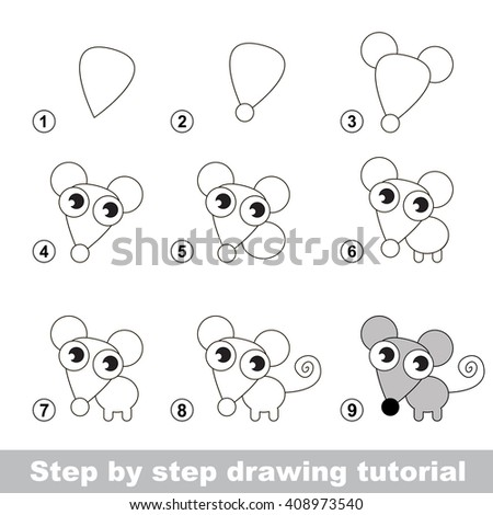 Raster copy. Step by step drawing tutorial. Visual game for kids. How to draw a Little Mouse - stock photo