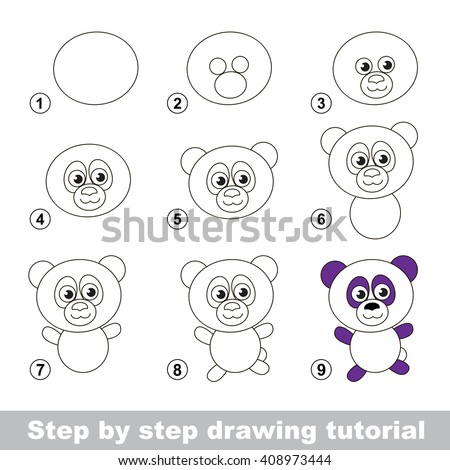 Raster copy. Step by step drawing tutorial. Visual game for kids. How to draw a Panda - stock photo