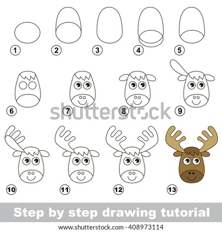 Raster copy. Visual game for kids. How to draw a Funny Elk - stock photo