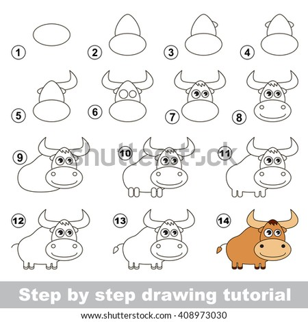 Raster copy. Visual game for kids. How to draw a Yak - stock photo