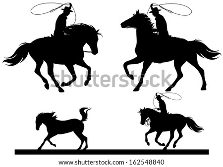 raster - cowboy horsemen fine silhouettes - black riders over white (additional format also available)