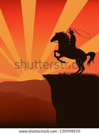raster - cowboy on top of mountain at sunset - silhouette against sky with sun rays (vector version is available in my portfolio) - stock photo