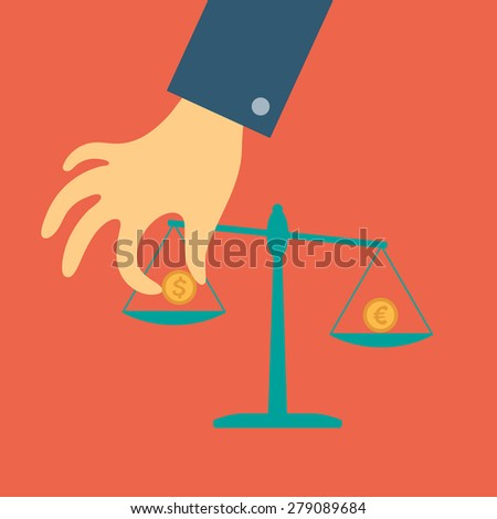 Raster crowdfunding concept in flat style - hand of a person puts a coin on the scales - stock photo