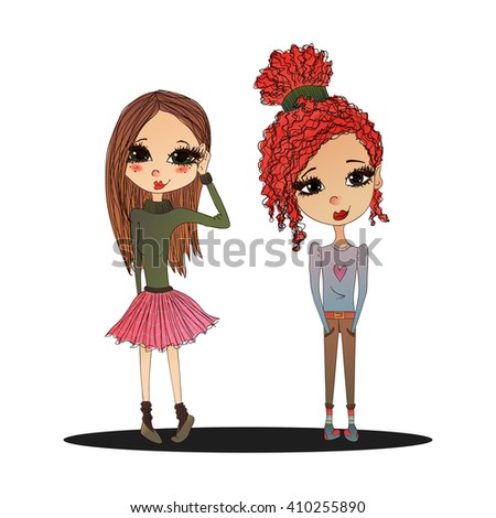 Raster Cute Colorful Fashion Kids Illustration with Cute Fashion Kids Wearing Stylish Clothes, Pretty School Girls for Fashion Magazines, Books Illustration or Web Design - stock photo