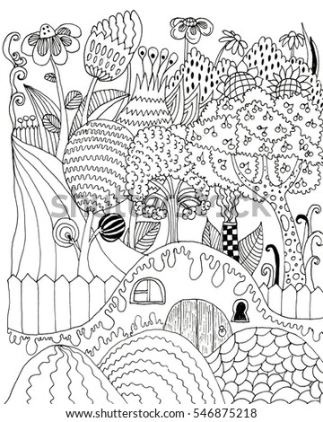 raster cute coloring illustration with miracle rustic scenery coloring book image art therapy