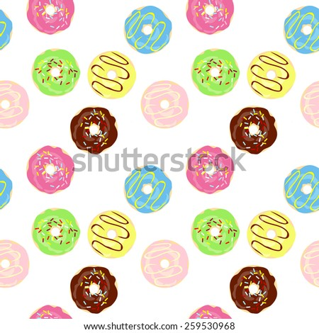Raster Cute Donuts with colorful glazing. Seamless pattern - stock photo