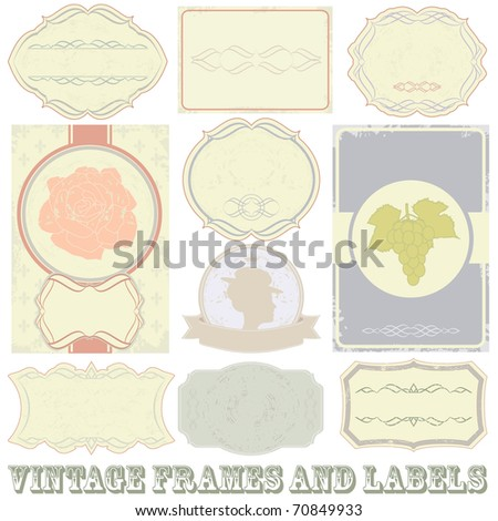 Raster detailed vintage label set. (vector available in portfolio)