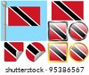 Raster Flag Set Trinidad Tobago - stock photo