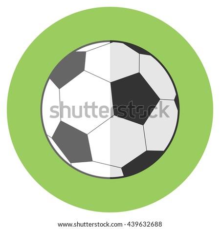 Raster flat sport reward icon with long shadow - football soccer ball - stock photo