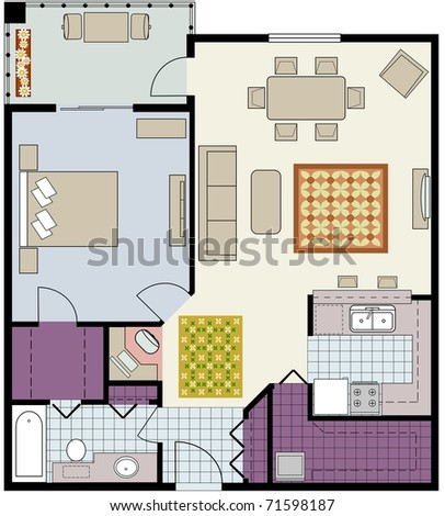 Rasterfloor Plan Onebedroom Condo Furniture Stock Illustration