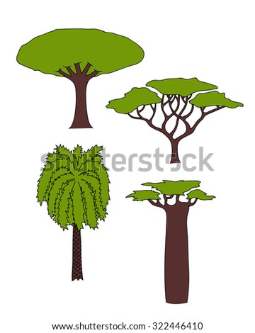 raster floral hand drawn african trees - date palm, acacia, baobab tree, dragon tree. isolated digital nature sketch  - stock photo