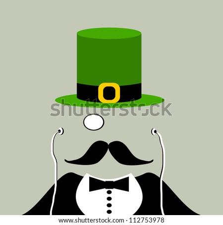 raster gentleman with irish leprechaun hat and monocle wearing earphones - stock photo