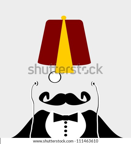 raster gentleman with monocle and handlebar mustache wearing fez hat - stock photo