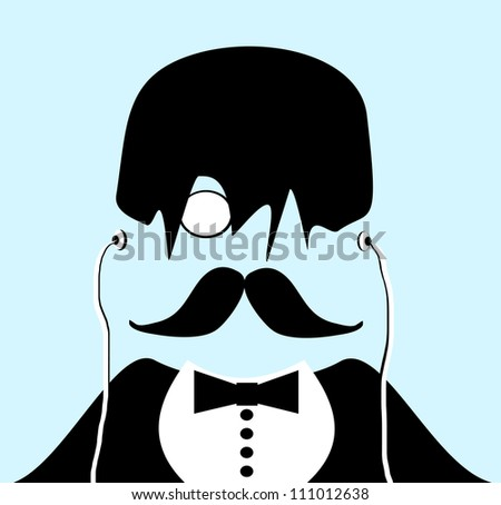 raster gentleman with monocle and tuxedo wearing earphones and messy hair with bangs - stock photo