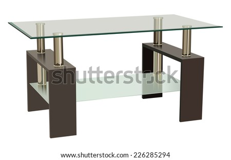 Raster Glass and Wood Combination Living Room Table - stock photo