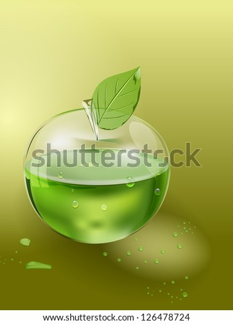 raster glass apple with juice inside, vector version available - stock photo