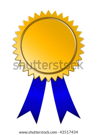 Raster graphic depicting a Medals of Achievement blue ribbon award.inside area of medal can be  personalized - stock photo
