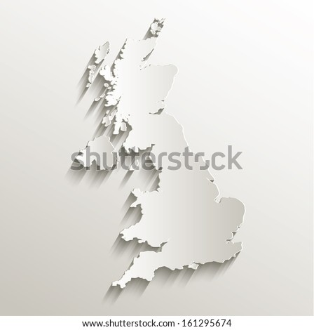 raster Great Britain United Kingdom map card paper 3D natural - stock photo