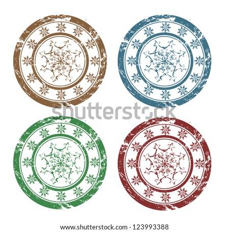 Raster grunge Christmas snowflakes stamps - stock photo