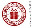 Raster grunge Christmas stamp with gift box - stock photo