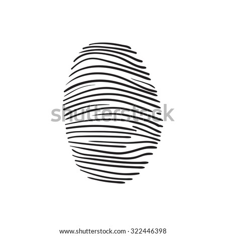 raster hand drawn fingerprint scan sketch on a white background - stock photo