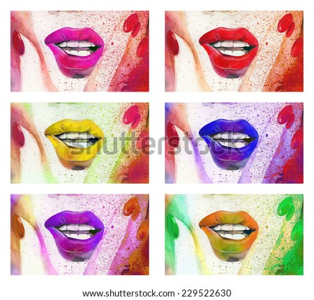 Raster hand drawn illustration with bright colored lips and nails. Hand drawn watercolor set - stock photo