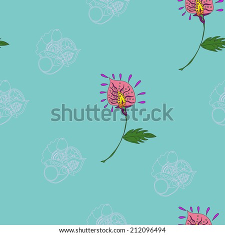Raster hand drawn seamless background with flowers