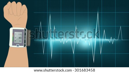 Raster Hand With Blood Pressure Instrument and Cardiagram, Vector Version Available