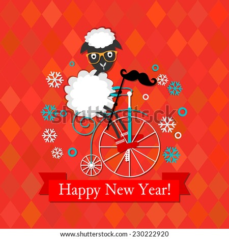 Raster Happy New year card with hipster sheep on the vintage bicycle, with mustache and glasses - stock photo