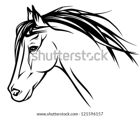 raster - head of running horse - realistic illustration - black and white outline (vector version is available in my portfolio)