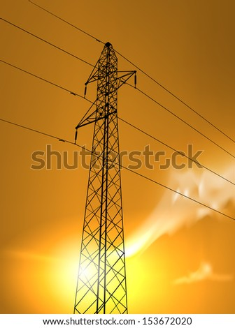 raster high voltage tower in the sunset
